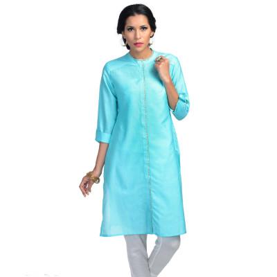Uptown Galeria Turquoise Blue Cotton Silk Bandhgala Kurta