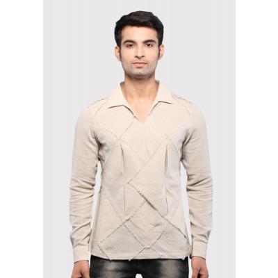Sandeep Mahajan Khaki Cotton Origami Casual Shirt