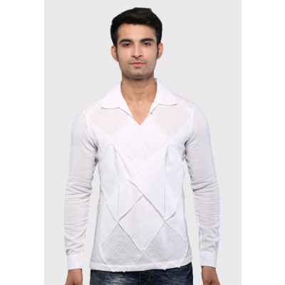 Sandeep Mahajan White Cotton Origami Casual Shirt