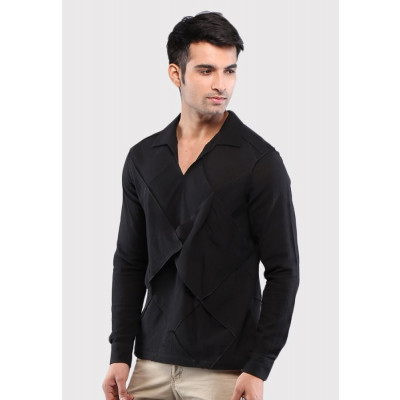 Sandeep Mahajan Black Cotton Origami Casual Shirt