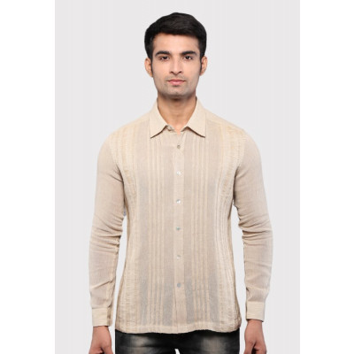 Sandeep Mahajan Khaki Cotton Down thread Pleated Shirt