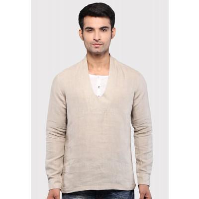 Sandeep Mahajan Khaki Linen Inverse Casual Kurta shirt