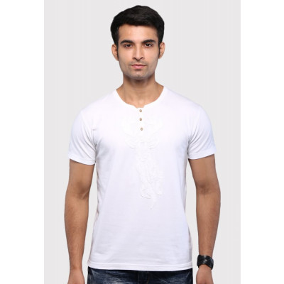 Sandeep Mahajan White Reindeer Applique Cotton Lycra T-shirt