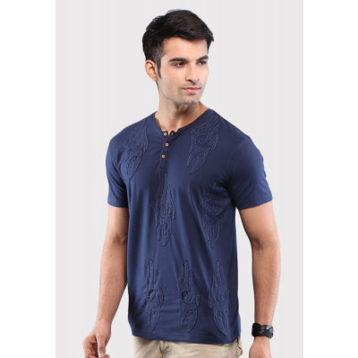 Sandeep Mahajan Navy Reindeer Applique Cotton Lycra T-shirt