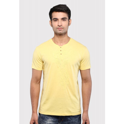 Sandeep Mahajan Yellow Reindeer Applique Cotton Lycra T-shirt