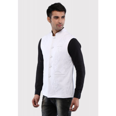 Sandeep Mahajan Handcrafted Cotton Ivory Nehru Jacket