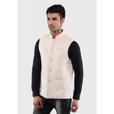 Sandeep Mahajan Handcrafted Beige Cotton Quilted Nehru Jacket