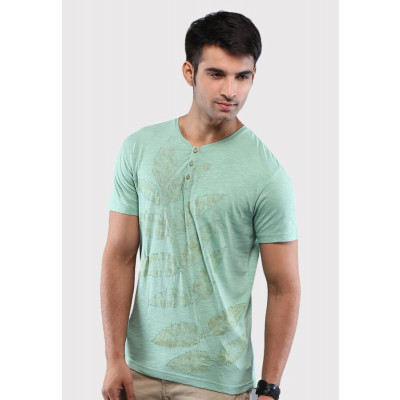 Sandeep Mahajan Leaf Print Green Cotton Lycra T-shirt