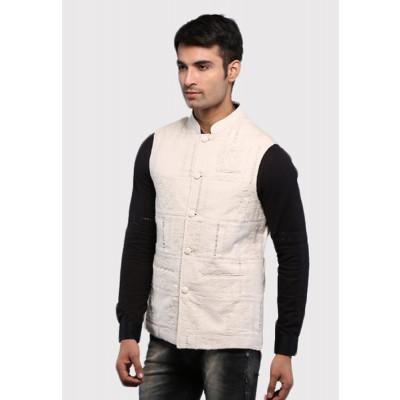 Sandeep Mahajan Cotton Ivory Down Thread Nehru Jacket