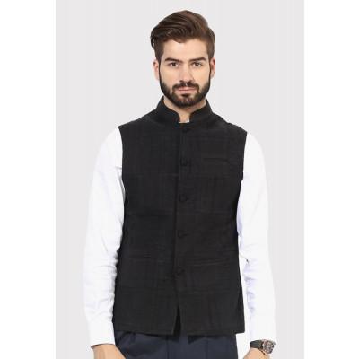 Sandeep Mahajan Cotton Black down thread Nehru Jacket