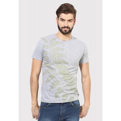 Sandeep Mahajan Grey Melange Cotton Leaf Print T-shirt
