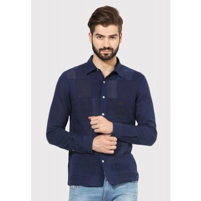 Sandeep Mahajan Dark Indigo Patch Full Sleeve Casual Shirt