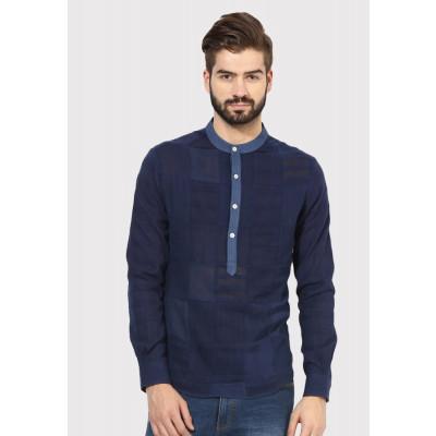 Sandeep Mahajan Dark Indigo Patch Kurta Shirt