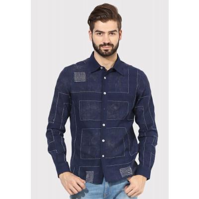 Sandeep Mahajan Indigo Mondrian Kantha Casual Shirt