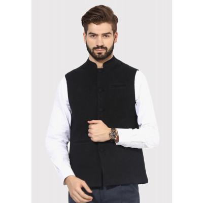Sandeep Mahajan Jet Black Cotton Quilted Nehru Jacket