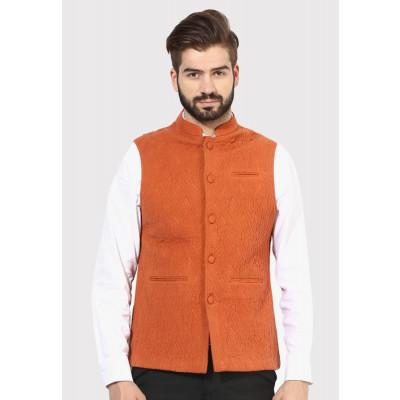 Sandeep Mahajan Rust Cotton Quilted Nehru Jacket
