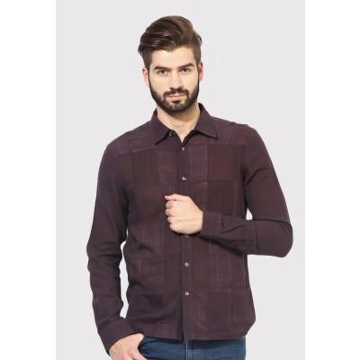 Sandeep Mahajan Brown Patchwork Full Sleeve Shirt