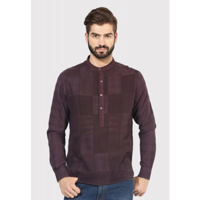 Sandeep Mahajan Brown Patchwork Kurta Shirt