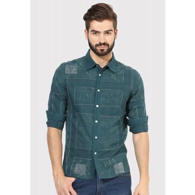 Sandeep Mahajan Green Mondrian Kantha Casual Shirt