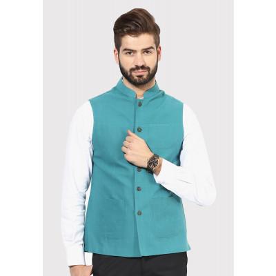 Sandeep Mahajan Coral Handwoven Nehru Jacket