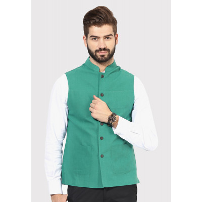 Sandeep Mahajan Green Handwoven Nehru Jacket