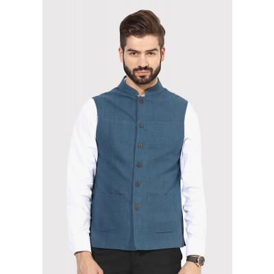 Sandeep Mahajan Indigo Handwoven Nehru Jacket