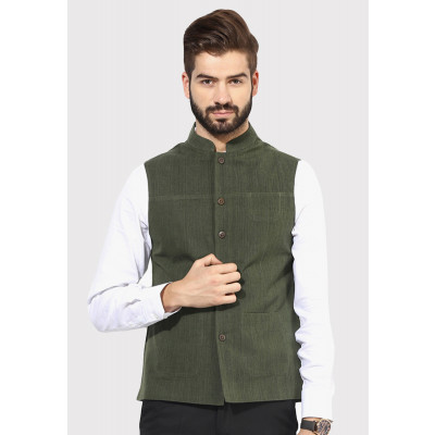 Sandeep Mahajan Olive Handwoven Nehru Jacket