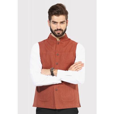 Sandeep Mahajan Rust Handwoven Nehru Jacket