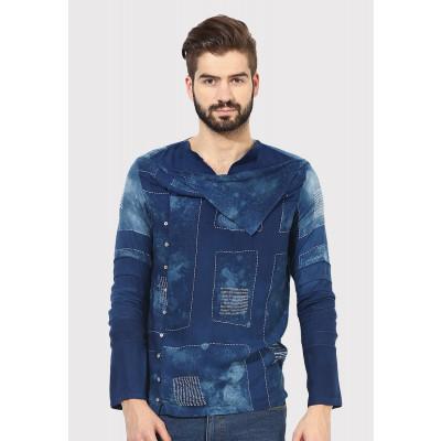 Sandeep Mahajan Indigo Mondrian Kurta Shirt