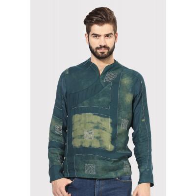 Sandeep Mahajan Green Mondrian Kurta Shirt