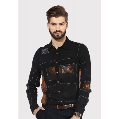 Sandeep Mahajan Black Mondrian Shirt