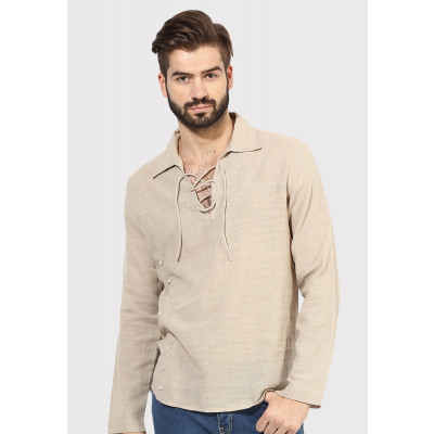 Sandeep Mahajan Khaki Cotton Button overlap Shirt