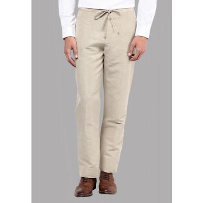 Sandeep Mahajan Khaki Linen Trouser