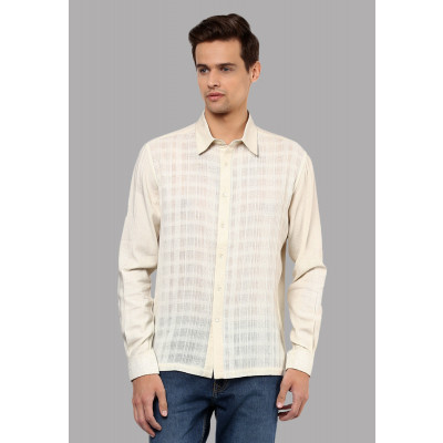 Sandeep Mahajan Cream Cotton Dobby Shirt