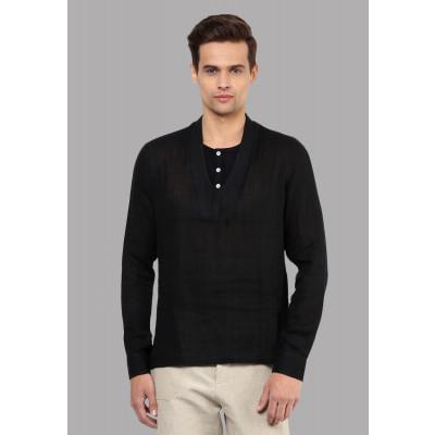 Sandeep Mahajan Black Cotton Inverse Kurta Shirt