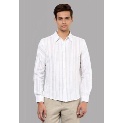 Sandeep Mahajan White Striped Cotton Shirt
