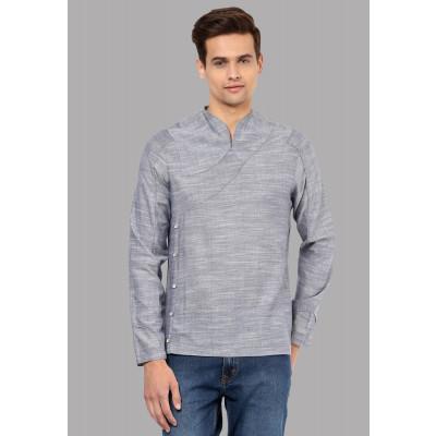 Sandeep Mahajan Pushkar Grey Melange Chambray Shirt