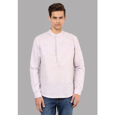Sandeep Mahajan Lilac Linen Chambray Yoke Kurta Shirt