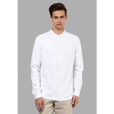 Sandeep Mahajan White Crush Cotton Handwork Shirt