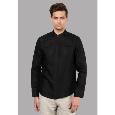 Sandeep Mahajan Black High Collar Shirt