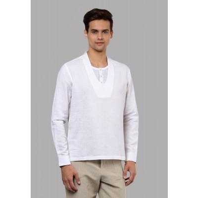 Sandeep Mahajan White Linen Inverse Kurta Shirt