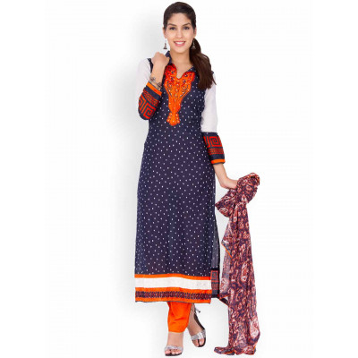 EthnicQueen Blue Polka Dot Embroidered Dress Material