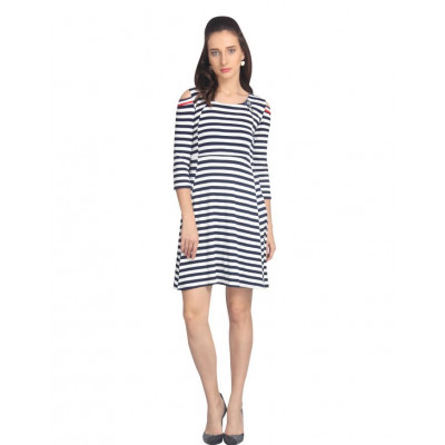 VODKA Striped fit and flare dress