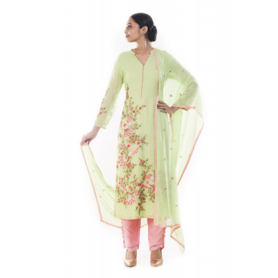 Anju Agarwal Pear Green and Pink Suit Set