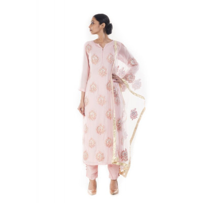 Anju Agarwal Carnation Pink Suit Set