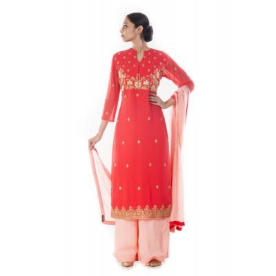 Anju Agarwal Red and Pink Zardosi  Suit