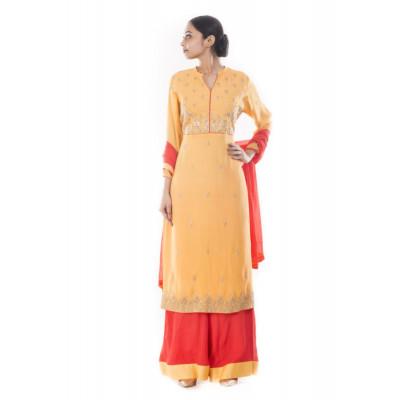 Anju Agarwal Sandy Brown and Peach Zardosi  Suit