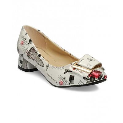 Yepme White Printed Heels