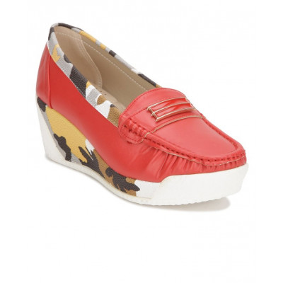 Yepme Women's  Red Synthetic Loafers