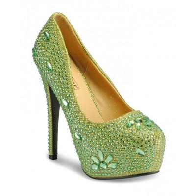 Yepme Women's Green Synthetic Heels